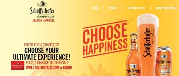 Schofferhofer Grapefruit Choose Happiness Sweepstakes