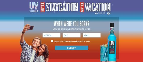 UV Vodka Staycation Vacation Instant Win Game