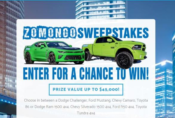 Pick Your Zomongo Events Vehicle Sweepstakes