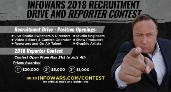 Infowars Recruitment Drive and Reporter Contest