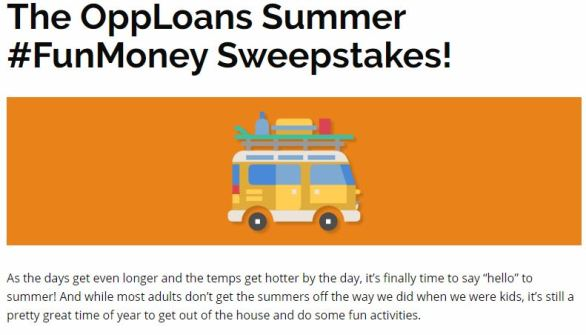 OppLoans Summer FunMoney Sweepstakes