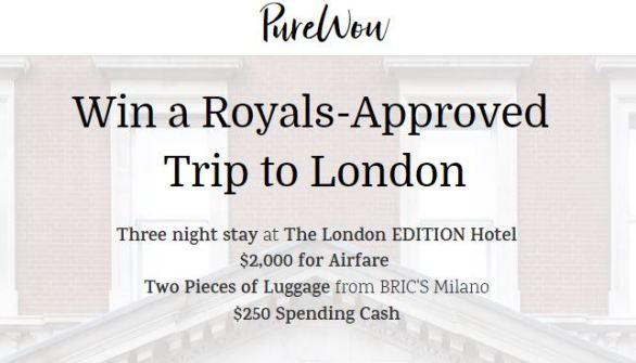 PureWow Royal London Getaway Sweepstakes
