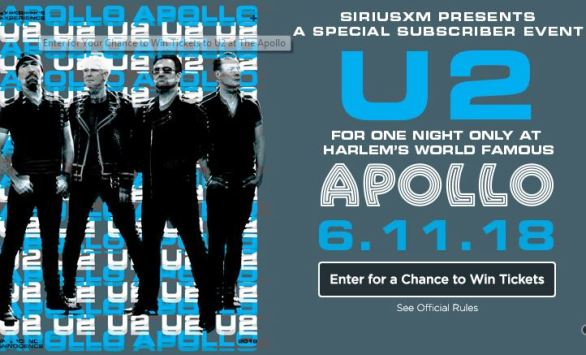 Sirius XM U2 at The Apollo Theater Sweepstakes