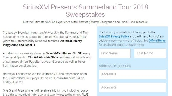 Summerland Tour Sweepstakes