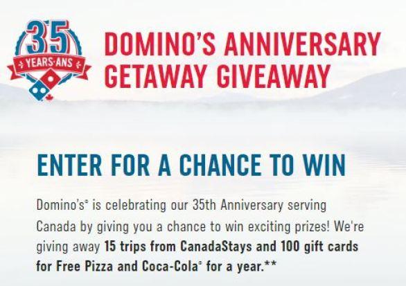 Domino's Anniversary Getaway Giveaway
