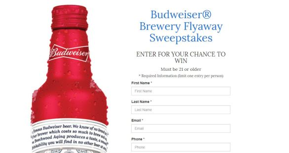 Budweiser Brewery Flyaway Sweepstakes