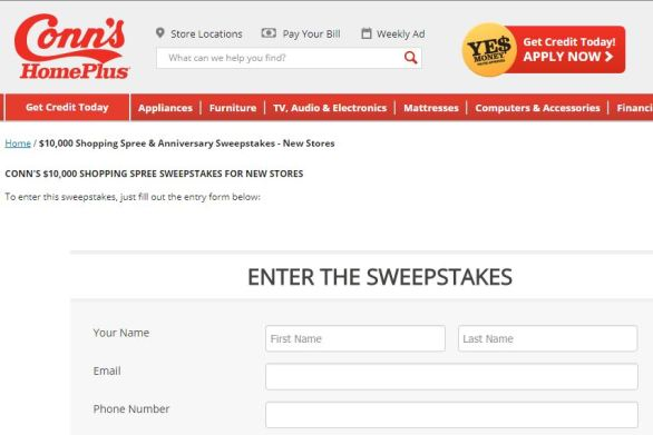 Conn's HomePlus $10,000 Shopping Spree Sweepstakes