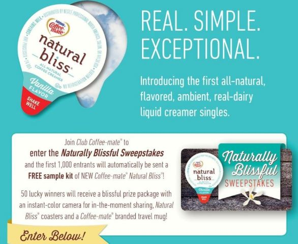 Nestle Coffee-mate Natural Bliss Sweepstakes
