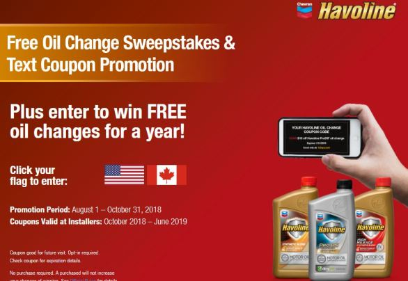 Havoline Oil Changes For A Year Sweepstakes