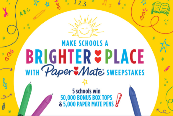 Box Tops for Education Make Schools A Brighter Place With Paper Mate Sweepstakes