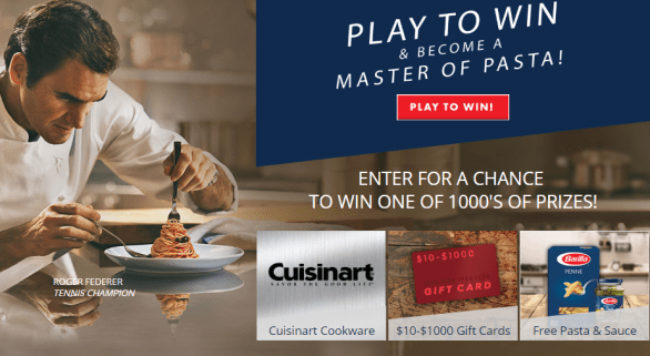 Barilla Masters of Pasta Instant Win Game