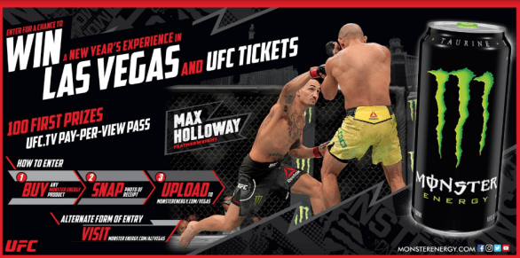 Monster Energy VIP UFC Experience in Las Vegas Sweepstakes