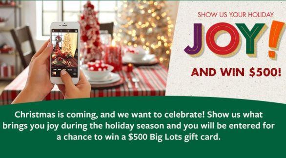 Big Lots Show Us Your Holiday Joy Sweepstakes