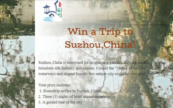 Suzhou Travel Vacation Upgrade Sweepstakes