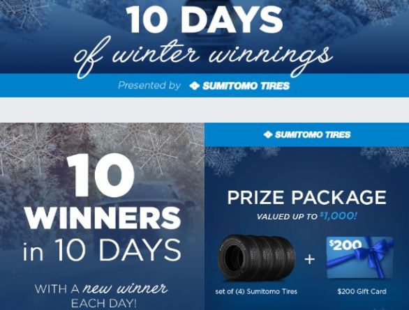 National Tire and Battery 10 Days of Winter Winnings Sweepstakes