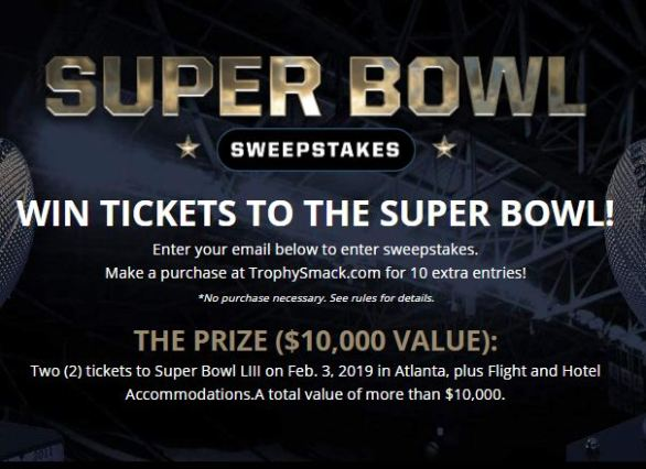 Trophy Smack Super Bowl Sweepstakes