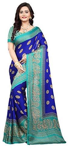 Jaanvi fashion Women's Peackock Printed Crepe Silk Kalamkari Printed Saree