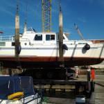 zandstralen en schilderen stalen boot 12m   op 3.3m