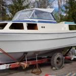 Transport 27 voet motorboot van Sandefjord Noorwegen naar Bergen op Zoom Nederland.