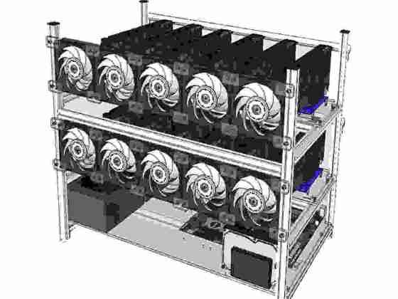 offertehitech-Alluminio Open Air Mining Rig Cassa impilabile con 10 ventilatori LED per 12 GPU ETH