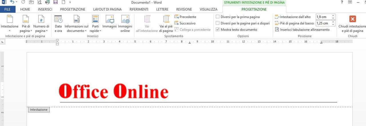 Office online - intestazione carta intestata
