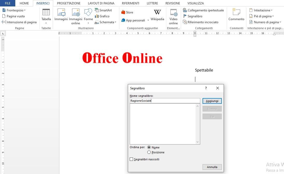 Office online - segnalibro Word