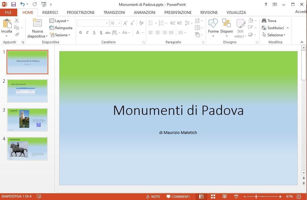 Office online -Presentazione di monumenti di Padova