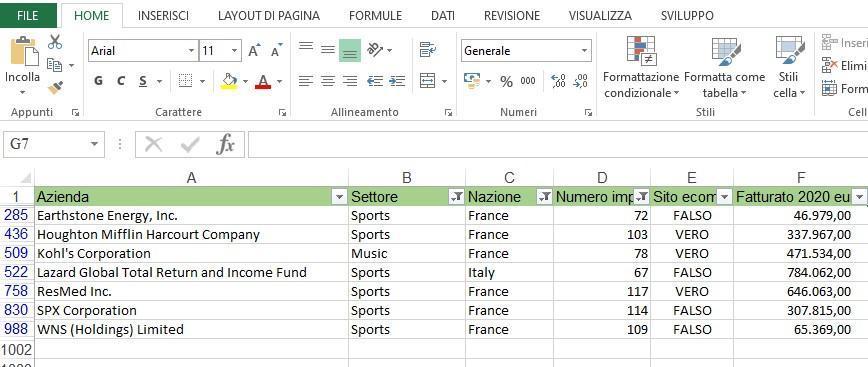 Office online - filtrare dati in Excel risultato finale