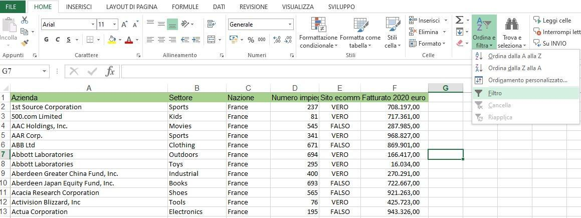 Office online - filtrare dati in Excel