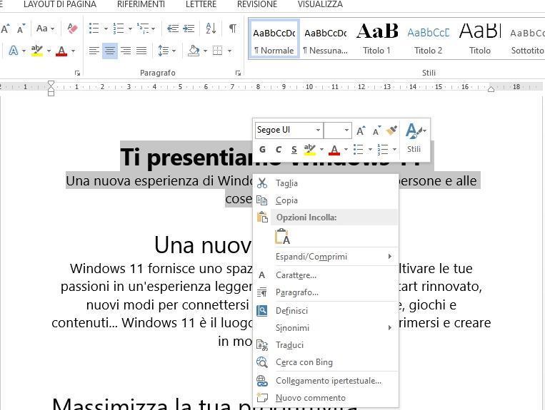 Office online: taglia con il tasto destro del mouse