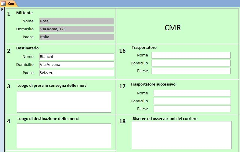Office online: inserimento dati cmr