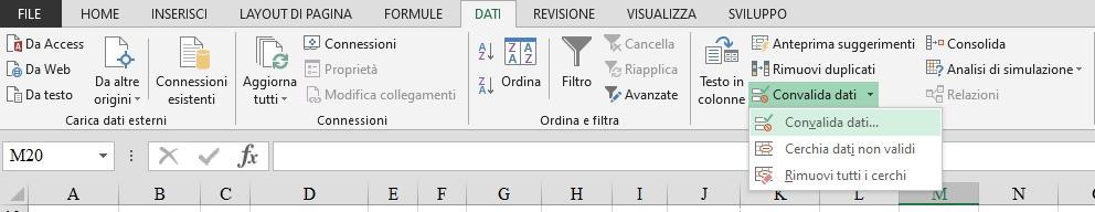Office online: menu di convalida dei dati