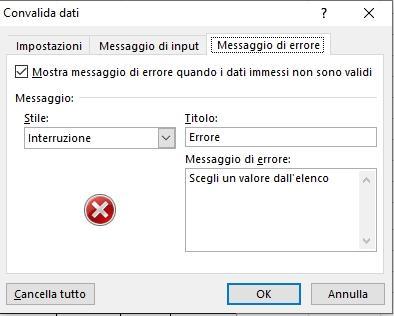 Office online: creare una fattura con Microsoft Excel - messaggio errore