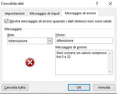 Office online: inserimento messaggio di errore di convalida dei dati