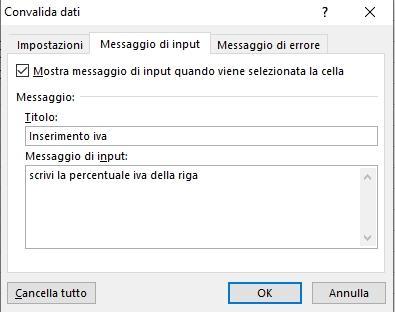 Office online: inserimento messaggio di input di convalida dei dati