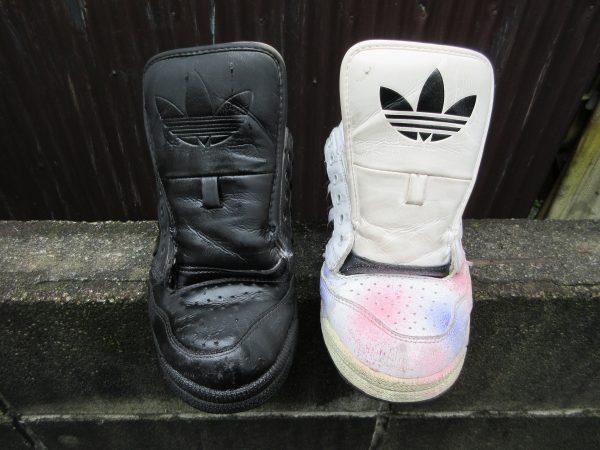 染めQで靴の色を替える工程①