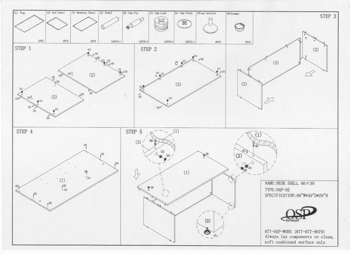 Computer Desk Assembly Instructions. night day furniture