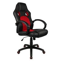 Homall Desk Chair Executive Swivel Leather Office Chair, Racing Style Task Chair High-back Gaming Chair Pu Leather and Mesh Bucket Seat,Computer Lumbar Support Chair (Red)
