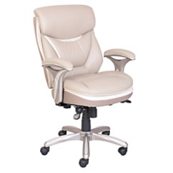 True Innovations Office Chair Pedestal Table And Chairs Upc 656292453934 - Serta(r) Smart Layers(tm) Bonded-leather Mid-back Chair, Ivory ...