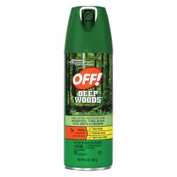 With 25 percent DEET formula, OFF! Deep Woods Insect Repellant provides up to eight hours protection from mosquitoes. Nongreasy spray-on protection resists perspiration and is ideal for use during outdoor activities. Application provides long-lasting repellency against ticks, mosquitoes, black flies, sand flies, chiggers, fleas and gnats. The special valve system allows the aerosol to be sprayed in any direction, permitting easy application to skin and clothing.  Special valve system allows aerosol to be sprayed in any direction  Repellant is effective against ticks, mosquitoes, black flies and more  25% DEET formula provides up to 8 hours of protection  Nongreasy spray-on protection resists perspiration