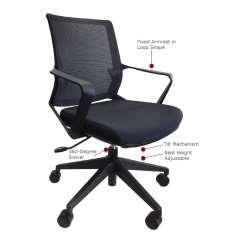 Office Chair Diagram Wheelchair Bike The Julia Mid Back Mesh Furniture Ez Denver Black