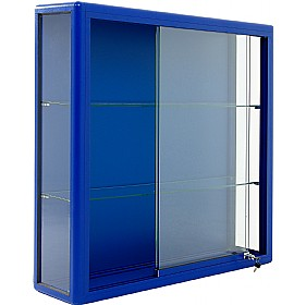 blue metal folding chairs kid recliner chair wall mounted glass display cabinet with sliding door | cabinets