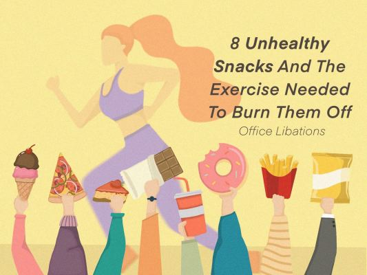 Illustrated cover image for list of 8 unhealthy snacks and the amount of exercise needed to burn them off.