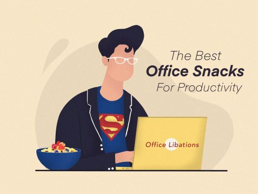 illustrated cover image for article about the best SF Bay Area office snacks for productivity by Office Libations