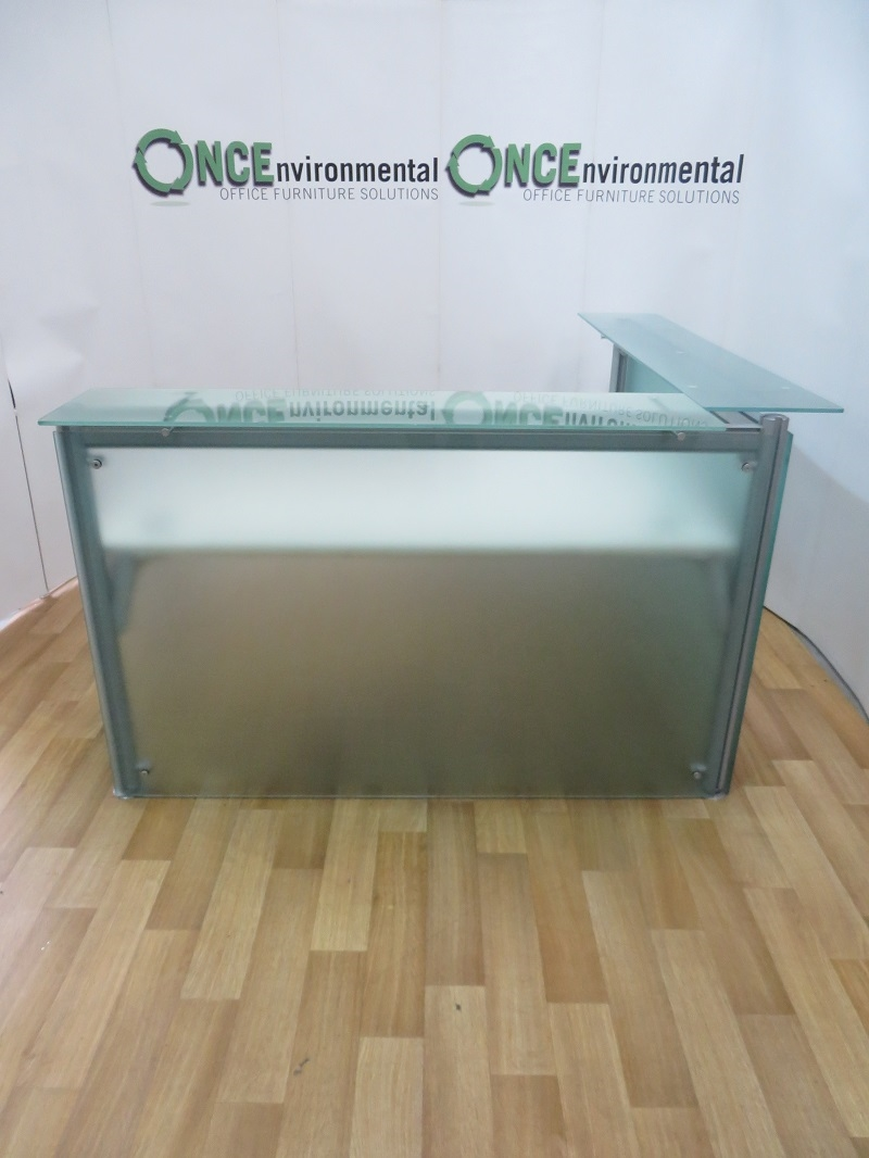 Used Desks Frosted Glass Reception Desk 1600W x 1600D