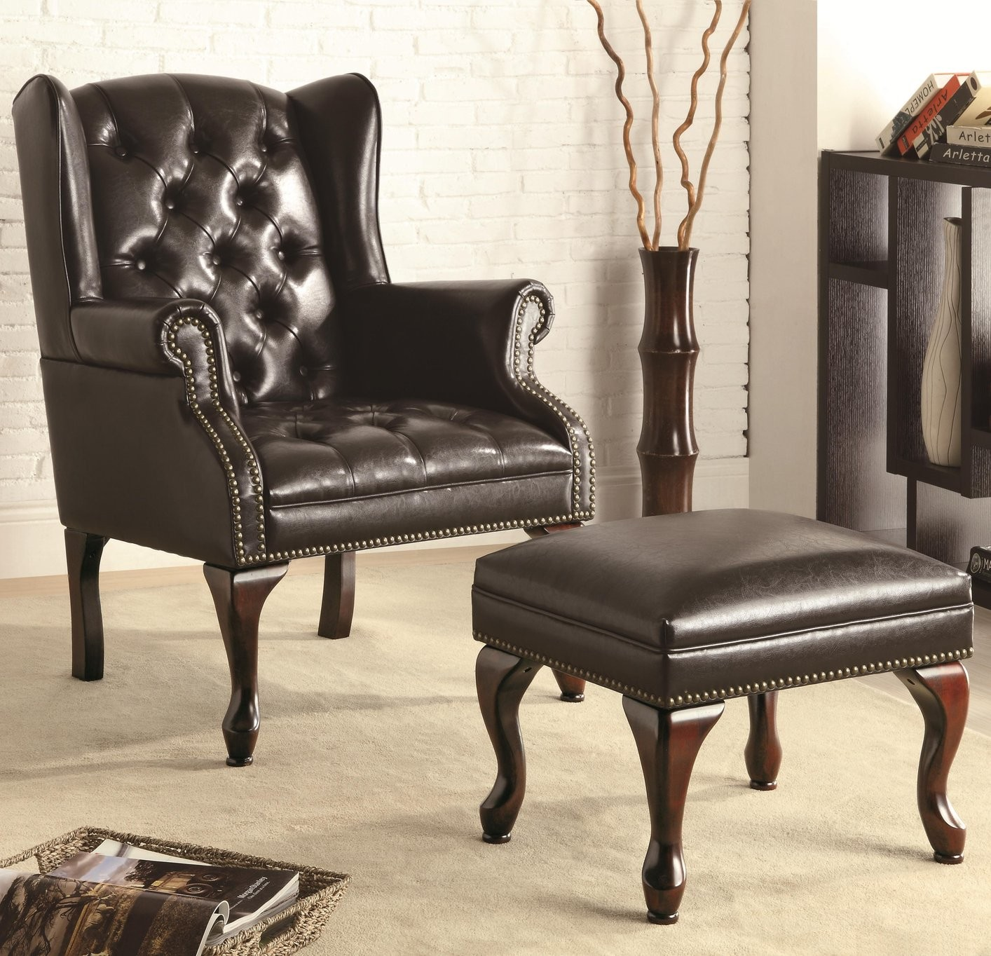 accent chairs with ottoman vintage high black leather chair office pro 39s