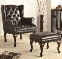 Black Leather Accent Chair with Ottoman | Office Pro's