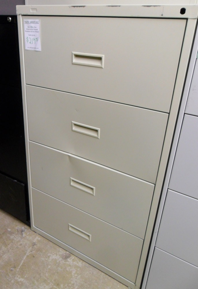 Buy 30 Wide File Cabinet Lateral Four Drawer Black for