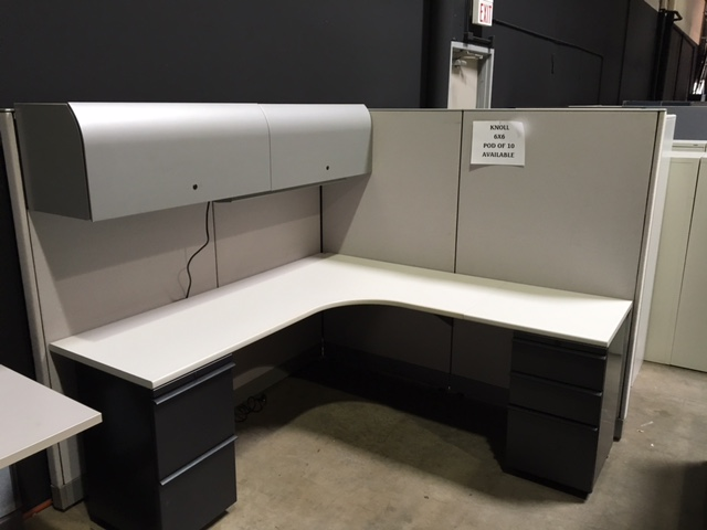 hooker leather chair glider rocking slipcovers knoll morrison 6×6 cubicle workstations with 2 pedestals and overhead storage | office resource ...