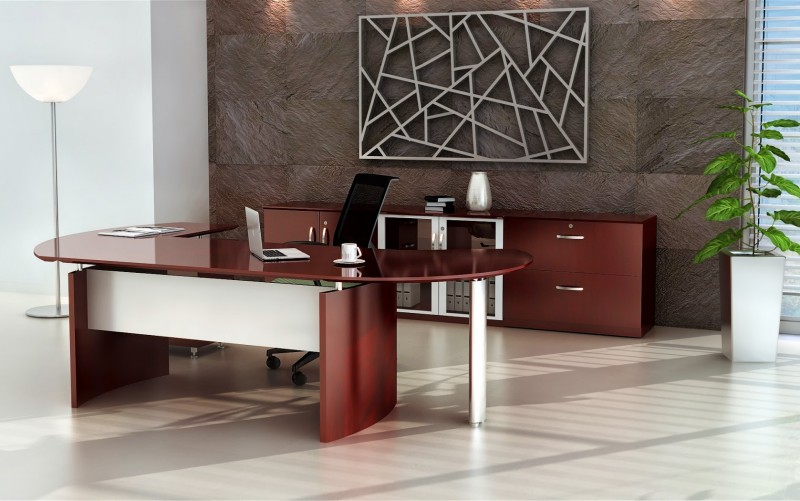 Mayline Napoli Wood Veneer 72 Executive Desk Suite With
